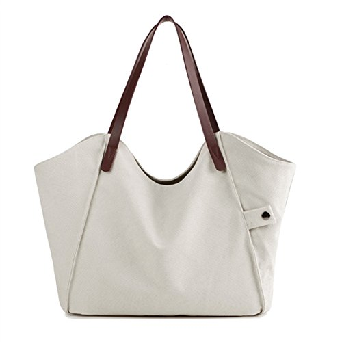 HeHe Borsa Tote a tracolla in tela di cotone Shopping Bag bianca