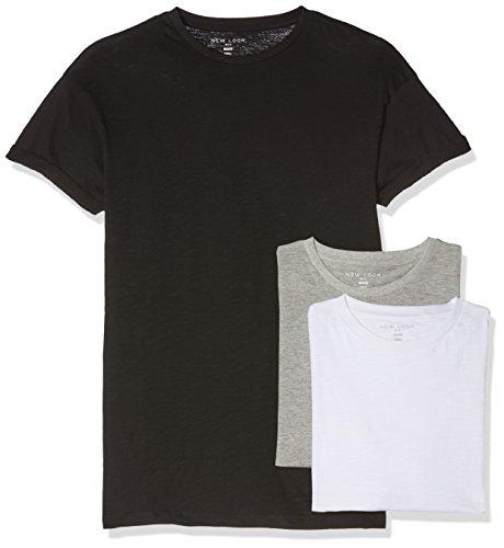 New Look Herren T-Shirt High Roll, 3er Pack Schwarz / grau / weiß