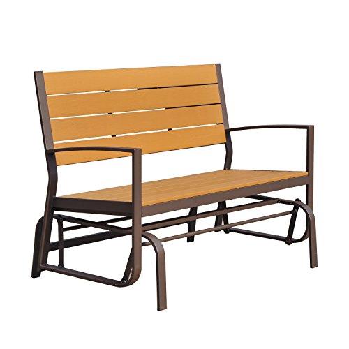 Outsunny Garten Glider Bench Holz Metall 2-Sitzer Swing Stuhl Veranda Outdoor Terrasse Double Rocker