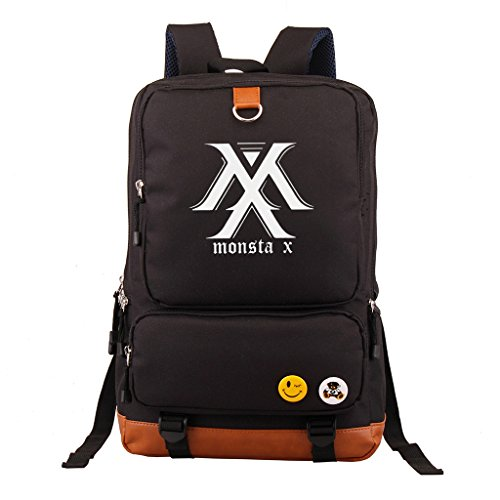 Fanstown Kpop Rucksack Federmäppchen Set Canvas Messenger Bag Black EXO Shinee BTS VIXX EXO schwarz Monsta X