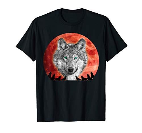 Kostüm Werwolf Vollmond - Werwolf Happy Howloween Vollmond US Flagge Halloween Kostüm T-Shirt