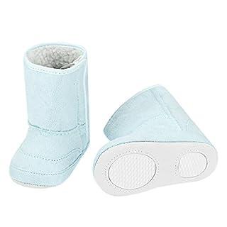 Arshiner Säuglingskleinkind Babyschuhe Krabbelschuhe Weiche Warme Erstlingsschuhe mit Klettverschluss und Gummisohle Blau 0-24 Monate