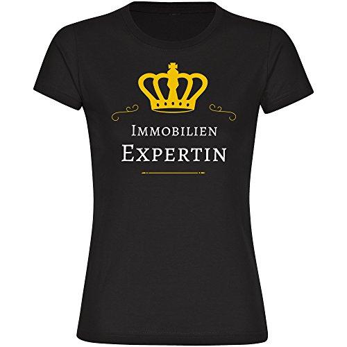 T-Shirt Immobilien Expertin schwarz Damen Gr. S bis 2XL - Lustig Witzig Sprüche Party Funshirt, Größe:XL