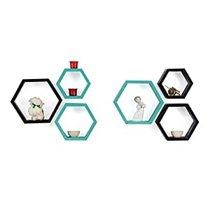 Forzza Sasha Wall Shelf, Set of 6 (Lacquer Finish, Black and Teal)