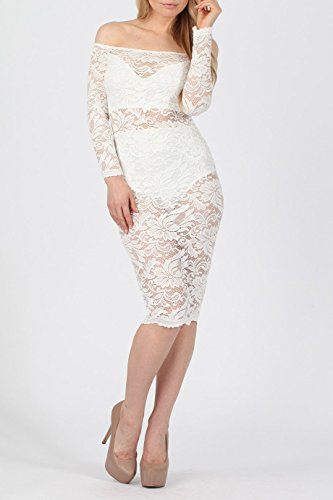 Mesdames Semi Lined Lace Bardot Robe EUR Taille 36-42 Ivoire