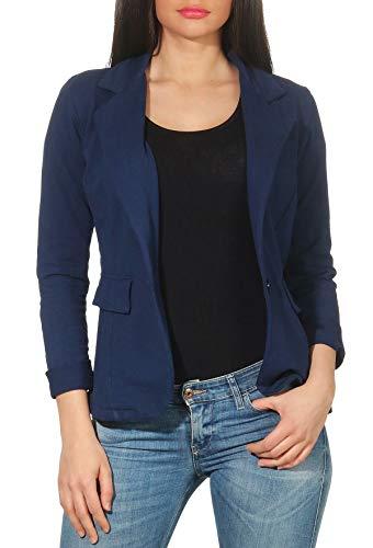 Malito Damen Blazer in Unifarben | Kurzjacke mit Knopf | Jersey Sakko im Basic Look | Jacke 1654 (dunkelblau, S) - Baumwoll-jersey Mantel