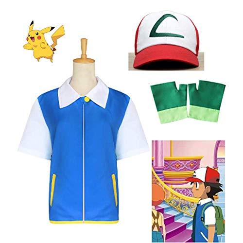 Männer Kostüm Ash Ketchum - Anime Pokemon Ash Ketchum Cosplay Kostüm Halloween Kostüm Uniform Kleid für Mann Komplettset Gr. X-Large, blau