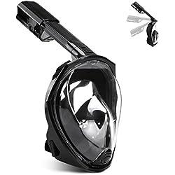AGPTEK Masque de Plongée 180° Panoramique Plein Visage Anti-Buée Anti-Fuite pour Les Sports Aquatiques, la Natation et la Plongée en Mer avec Pochette Téléphone Etanche M/L - Noir