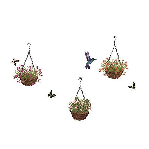 EWQHD Hummingbird & Hängender Korb Blumen Kreative Wandaufkleber Mobile Wand Angebracht Mit Dekorativer Wandfensterdekoration -