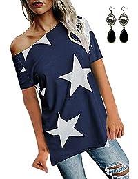 BUOYDM Ropa Mujer Verano Camisetas Manga Corta Casual T-Shirt de Fiesta Deportivas Sin Tirantes