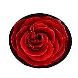 QAZ Rose Rund Teppich, Wohnzimmer Mat Warenkorb Drehstuhl Runde Hocker Computer Sitzkissen Schlafzimmer Bett Decke 160x160 cm (Farbe: #1, Größe: 80 * 80 cm)