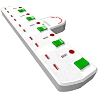 Duronic S125W 5 Way UK Plug Surge Protected Power Extension Adaptor Multi Socket   Switched   White  Switches  Turns 1 Socket Into 5, Not 4   Engineered To Tell You When Surge Is On