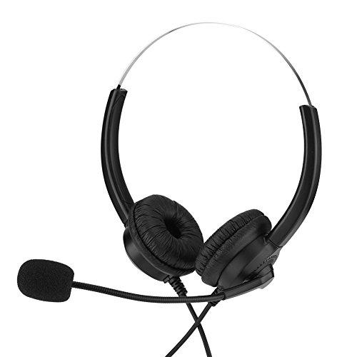Oumij Callcenter-Headset mit Mikrofon Schnurgebundenes Binaurales Headset Kopfhörer Noise Cancelling Lossless Sound 360 ° -Rotary Earmuffd Für Computer, Telefon, Desktop-Box(Doppelt 3,5 mm) - Desktop-headset