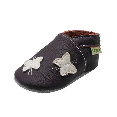 Sayoyo Baby Schmetterling Lauflernschuhe Leder Weiche Sohle Baby Mädchen Baby Jungen Kugelsicherer Krippe Enfants Schuhes (18-24 Monat, Violett)