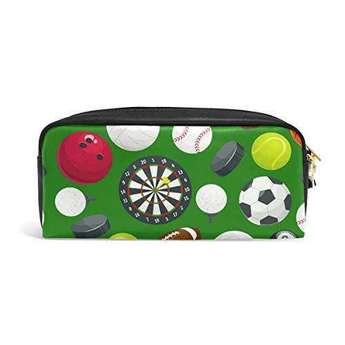Federmäppchen Sportball grün für Teenager Stifteetui Tasche Reißverschluss Junge Mädchen Damen Schule Schreibzubehör Leder PU mit Fächern -