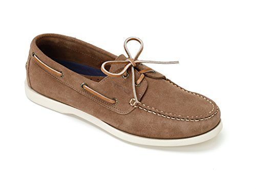 TOIO Mens HARBOUR SHOE MOCASSIN Handcrafter 100% leather Daino rubber sole with anti-slip tread 45 Suede boat shoe with laces and eyelets (Lace Boat)