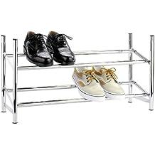 WENKO 7050100 Estantería para zapatos Flexi - para 10 pares de zapatos, Metal cromado, 64-119 x 35 x 23 cm, Cromo