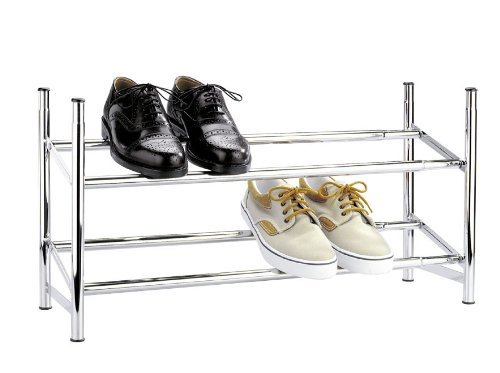 Wenko 7050100 Schuhregal ausziehbar - stapelbar, für 10 Paar Schuhe, verchromtes Metall, 64-119 x 35 x 23 cm, Chrom (Schuhregal Stapelbare)