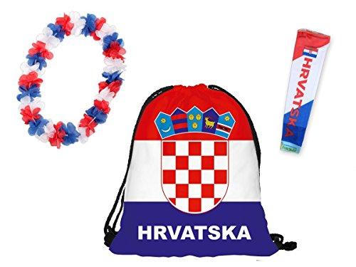 OFFERTA: Kit tifosi Croazia (FP-17) Set da 3 pezzi: 1 x manicotto braccio, 1 x sacca sportiva, 1 x collana hawaiana ultra croato bianco rosso calcio eventi festa estate decorazione europei mondiali