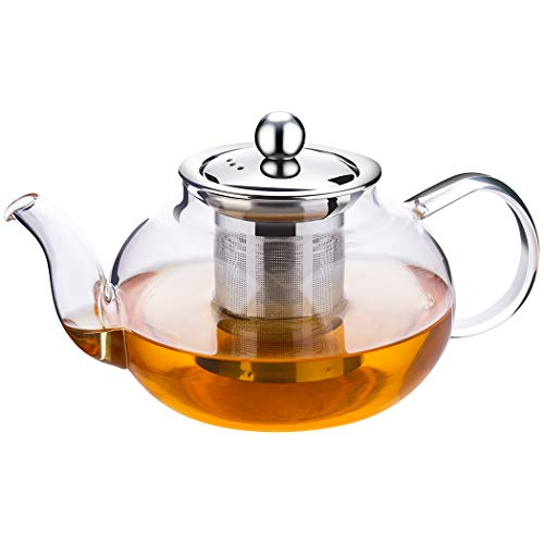 Incrizma Glass Kettle/Teapot with Stainless Steel Infuser & Lid, Borosilicate Glass Tea Kettle Stovetop Safe, Blooming & Loose Leaf Teapot