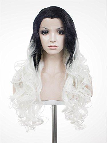 Imstyle Femme Cosplay foncé Racine ombré Blanc Couleur longue Body ondulée Texture synthétique Lace Front Perruque résistant à la chaleur Perruques