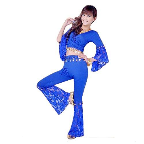bellyqueen 2Lady Sexy Bauchtanz Kostüme Spitze Sets indischen Dance, Tänzerin Belli Röcke, königsblau (Bella Bauchtanz Kostüme)