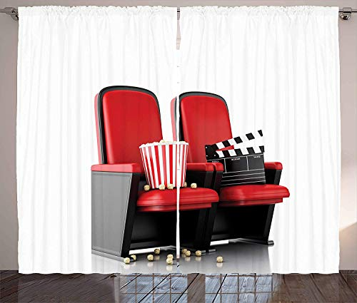 Movie Theater Curtains, 3D Illustration Cinema Concept Clapper Board and Popcorn on Theater Seat, Living Room Bedroom Window Drapes 2 Panel Set, White Black,Size:110 X 63 inches -