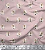 Soimoi Rosa Seide Stoff Rose Blumen- gedruckt Craft Fabric