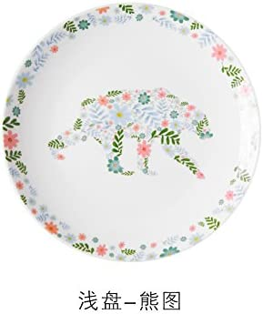 YUWANW Piccolo stoviglie in Ceramica stoviglie Piccolo Piastra Fresh Piatto Piatto Colazione casa rossoonda Floreale Animale Giardino Stile Piatto da Dessert, Piatto Bears 540ae1