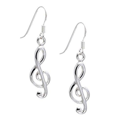 Silverly Pendientes En Plata 925 Nota Musical Clave De Sol