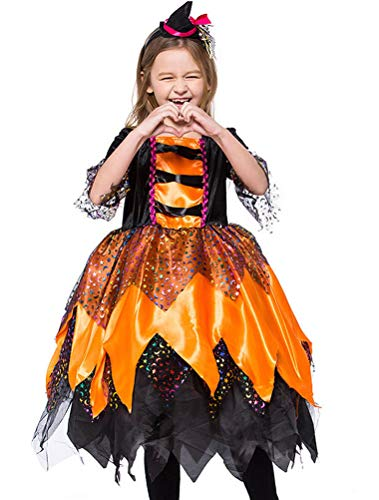 ARAUS Baby Kostüm Mädchen Kleid Orange Hexe Haarschmuck + Anzug 2 Sets Halloween Weihnachten