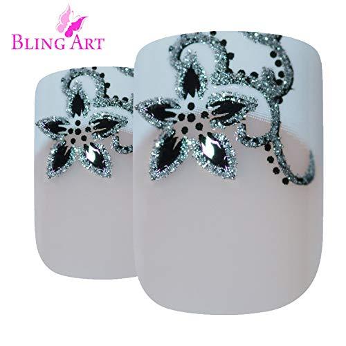 Unghie finte Bling Art Nero Bianco Luccichio 24 Squoval Medio Finte punte in acrilico con colla