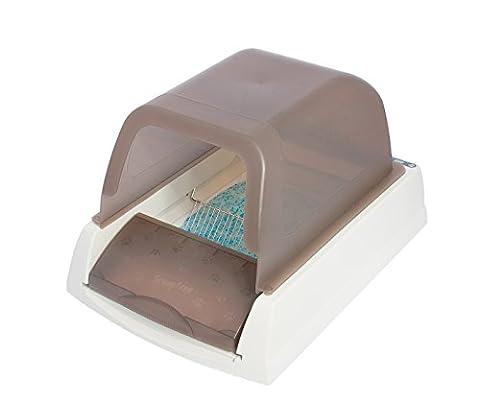 PetSafe Katzentoilette für Katzen automatisch, ScoopFree, Silikat Katzenstreu, Sicherheitssensoren, Gesundheitsmonitor, Deckel, groß, elektrisch, selbstreinigend, hygienisch, geruchsfrei, leiser Motor - Petsafe Box