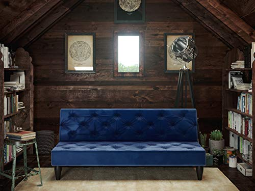 Forzza Beverly Three Seater Tufted Sofa Cum Bed (Blue)