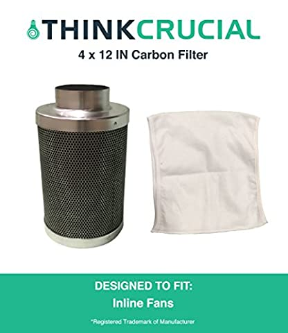 "4x12"" Carbon Inline Fan Filter & Odor Control, Part # GLFILT4M; Perfect for Odor Elimination in Grow Rooms, Cigarette Smoke, Pet Dander, Trash, Plant Emissions, Allergenic Pollutants & More"