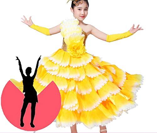 Tänzer Mädchen Kostüm - SMACO Blumendekoration Kinder Spanisch Tänzer Kostüme Sexy Flamenco Tanzen Kostüm Mädchen Leistung Flamenco Gesellschaftstanz Kleid,540°,100CM
