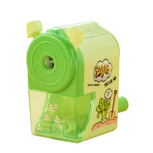 pushfocourag Manuelle Spitzmaschine, Anspitzer Mechanische Hand Kurbel Kids Desktop Cute Schulbedarf grün (Metall-kurbel Bleistiftspitzer)