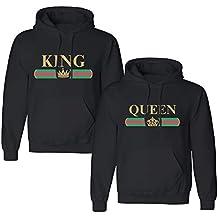 Pärchen Hoodie Set King Queen Pullover für Zwei Kapuzenpullover für Paare  Paar Valentinstag Partner Geschenke Partnerlook a921c3e273