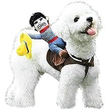 DSstyles Cowboy Rider disfraz mascota perro arnés de ropa con un regalo gorro de disfraz