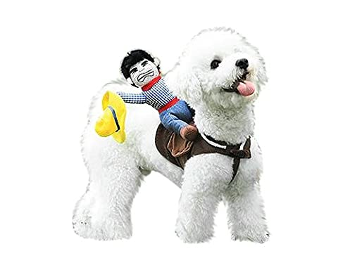DSstyles Cowboy Rider Costume Pet Dog Clothes Harness with a Free Gift Costume Hat - Large