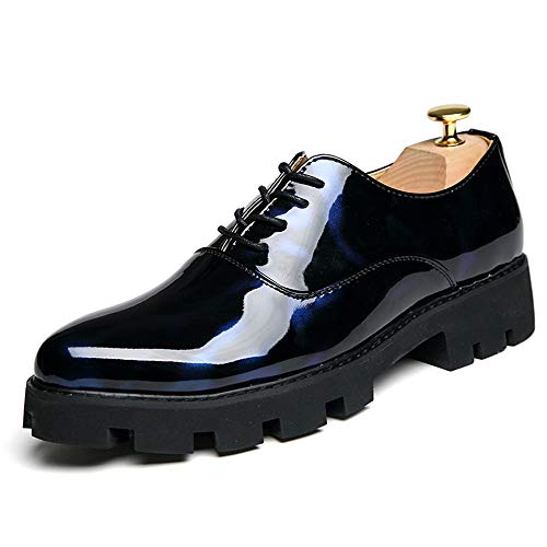Apragaz Herren Business Oxford Multicolor Leder Round Toe Oxford beiläufige Starke Unterseite Breathable Brogue Stiefel Fashion Party Prom Schuhe (Color : Black Blue, Größe : 38 EU) Prom Fashion