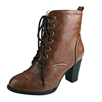 Topassion Winter Autumn Womens Short Tube Shoes Warm Booties Comfortable Elegant Lace up Large Size Thick Heels Single Non Slip Ankle Boots Brown