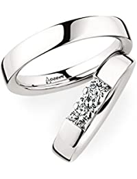 SILVERISH Forever Love Matching Ring For Him And Her Alloy Cubic Zirconia Rhodium Plated Ring Set