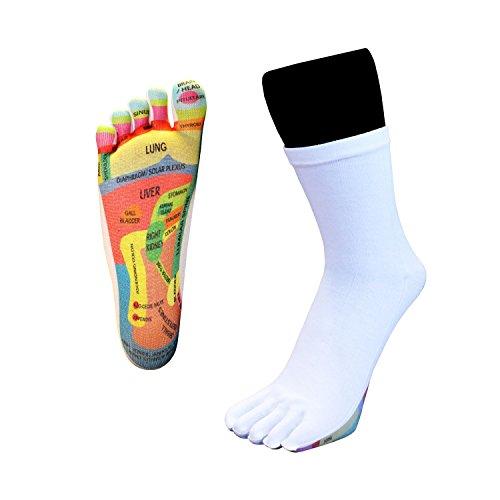 Toetoe-salute-riflessologia toe calze (uk 3-8.5  eu 36-43, bianco)