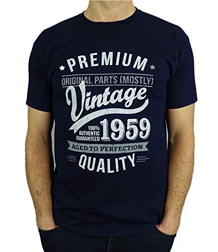 1959 Vintage Year - Aged To Perfection - Regalo di Compleanno Per 60 Anni Maglietta da Uomo Blu Marino L