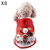 Welltobuy Pet Christmas Costume Clothes With Hoodie Cute Red Coat for Small Dog Cat Christmas Party Clothes