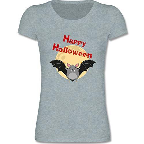Tiermotive Kind - Happy Halloween Fledermaus - 122-128 (7-8 Jahre) - Blau/Grau meliert - F288K - Mädchen T-Shirt