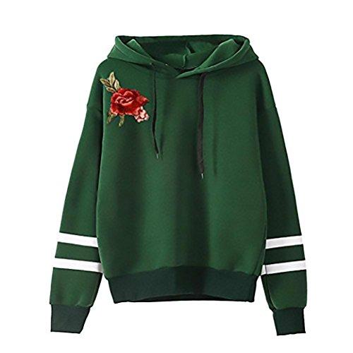 Felpa Donna Con Cappuccio Pullover Ricamo Fiore A Righe Sweatshirt Hoodie Manica Lunga Taglie Forti Moda Streetwear Hoody Moda Autunno E Inverno Sportiva verdi