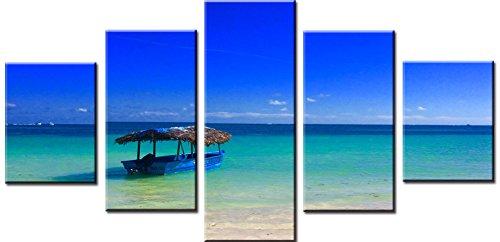 obella Modern Leinwand Bilder Drucke Art Wand 5Stück || blau sky grün Sea & Boot || Poster Öl Gemälde Prints und Bilder Foto Wand Kunst für Zuhause decoration-frameless (Ski-und Boot-rack)