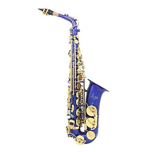 LADE Saxofón Eb E-Flat Alto Latón Grabado Botones Shell del Olmo Instrumento de Viento con Estuche Guantes Paño de Limpieza Grasa Correa Cepillo
